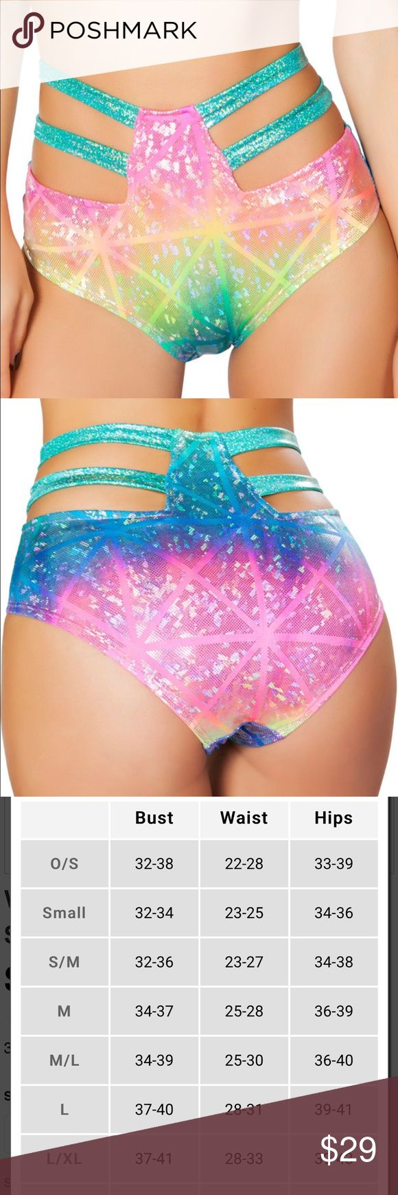 Strapped holographic high waist multi rave shorts These popular high waist shorts are just what you need to compliment your next rave outfit! These shorts provide extra coverage with a sexy strap detail. Sizes come in S/M and M/L. Rave Wonderland Intimates & Sleepwear Panties