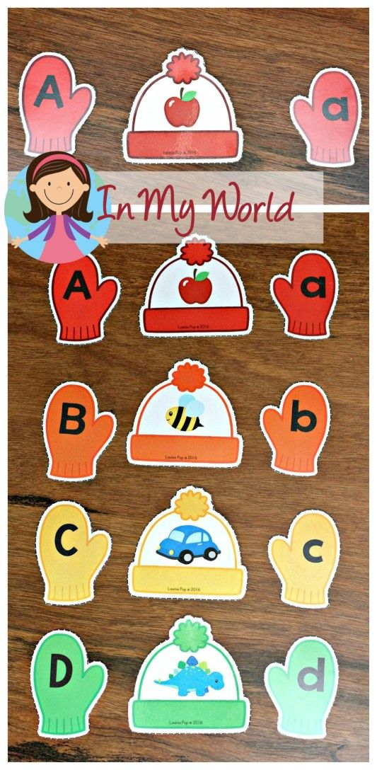 FREE Winter Preschool Center Activities: Hat and Mittens Alphabet and Beginning Sounds Matching