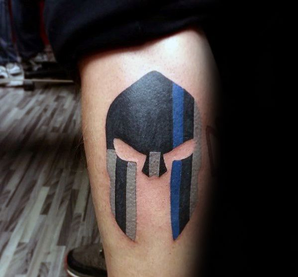 Male Thin Blue Line Spartan Helmet Leg Tattoos                                                                                                                                                                                 More