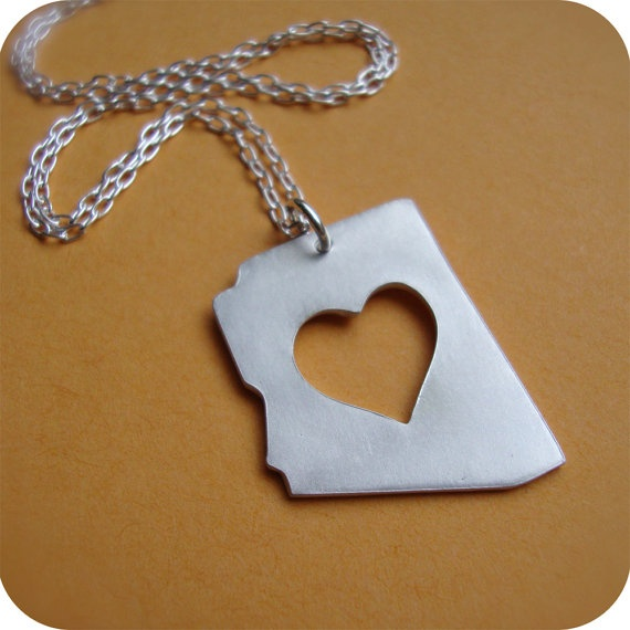 Silver Arizona State Necklace by DestinysCreations on Etsy, $55.00