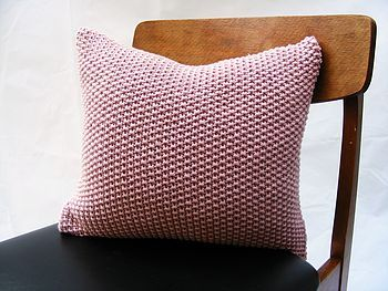hand knit moss stitch cushion rose pink by s t r i k k handknits | notonthehighstreet.com