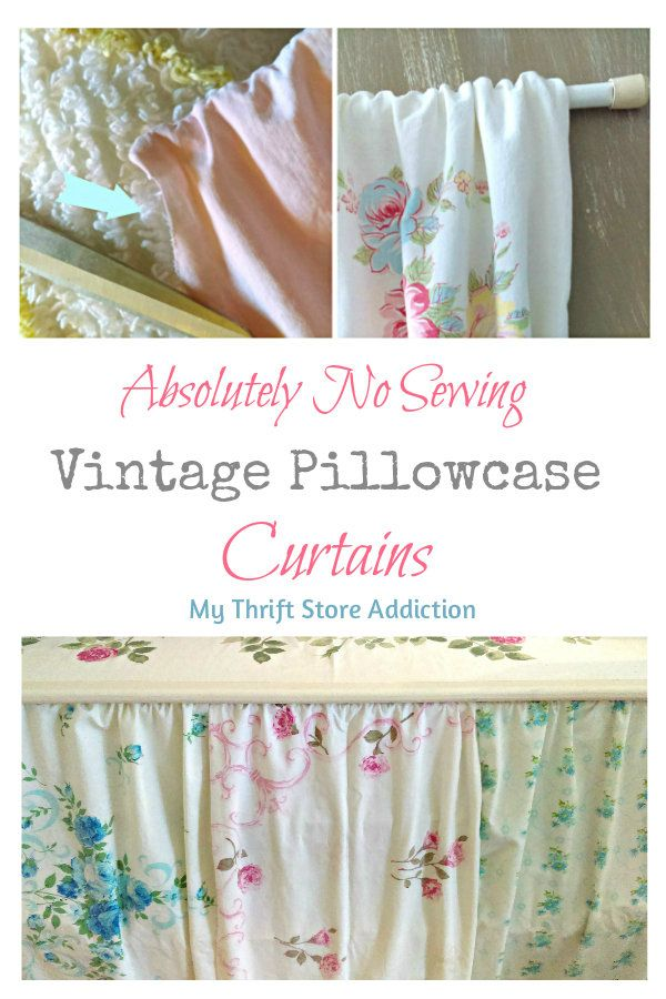 No sew vintage pillowcase curtains, a pretty solution for storage issues PIN: mythriftstoreaddiction.blogspot.com