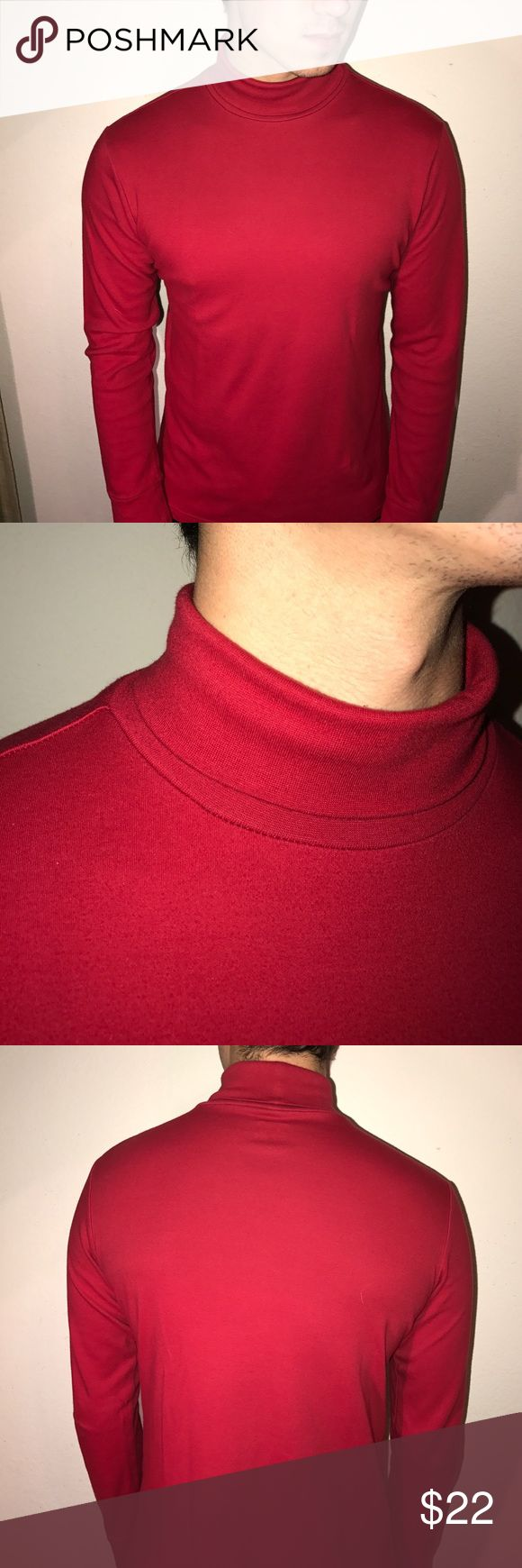 Red Cherokee men's turtleneck Relaxed, and comfortable red Cherokee men's turtleneck. XL 16/18 100% cotton. No stains! Worn once! Cherokee Sweaters Turtleneck
