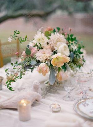 Peach Pink and Ivory Wedding Centerpiece