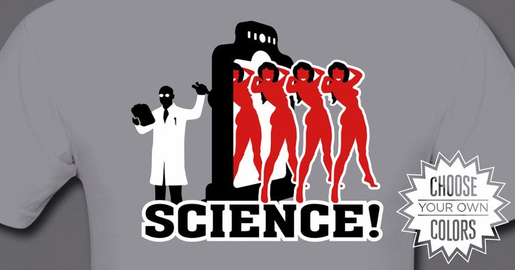 Babe Factory shirt from Science!: A bevy of fine artificial ladies being produced by some crazy gate-like machine