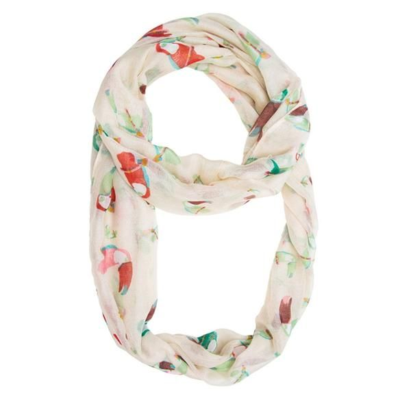 White Infinity Scarf With Tropical Toucan Motif, 100% Polyester, Dry Clean only.  Tropical toucans add summer fun to a must-have infinity scarf. Adds the perfect hint of cultural flair! Our scarf selection is stylishly designed without sacrificing comfort. We offer different choices of fabric, color, and style. Browse our selection and youll definitely find your unique look.