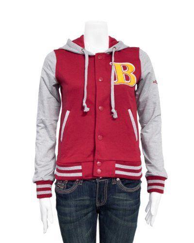 Red Grey Ladies Hooded Jersey Letterman B Jacket Varsity Team 28 Shoulder Clothes Effect. $27.50