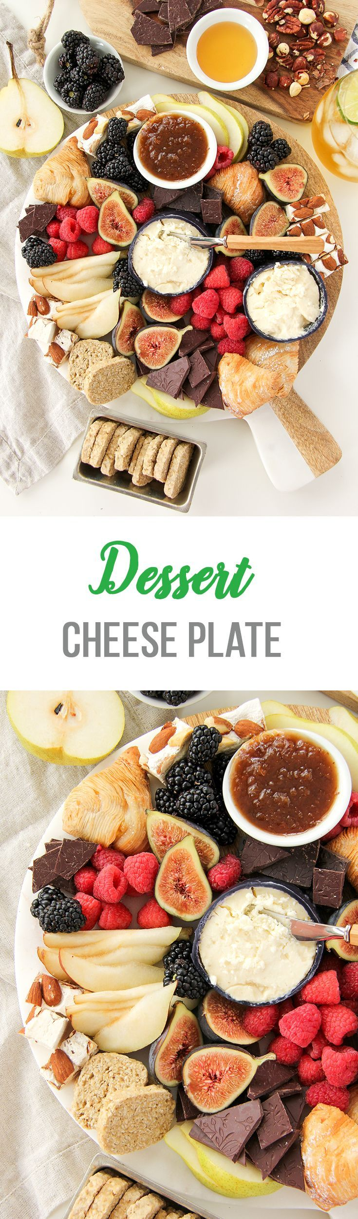 Think outside the charcuterie plate, and make a Dessert Cheese Plate!  This plate is loaded up with delicious cheese, chocolate, nuts and fruit!  Perfect for entertaining.