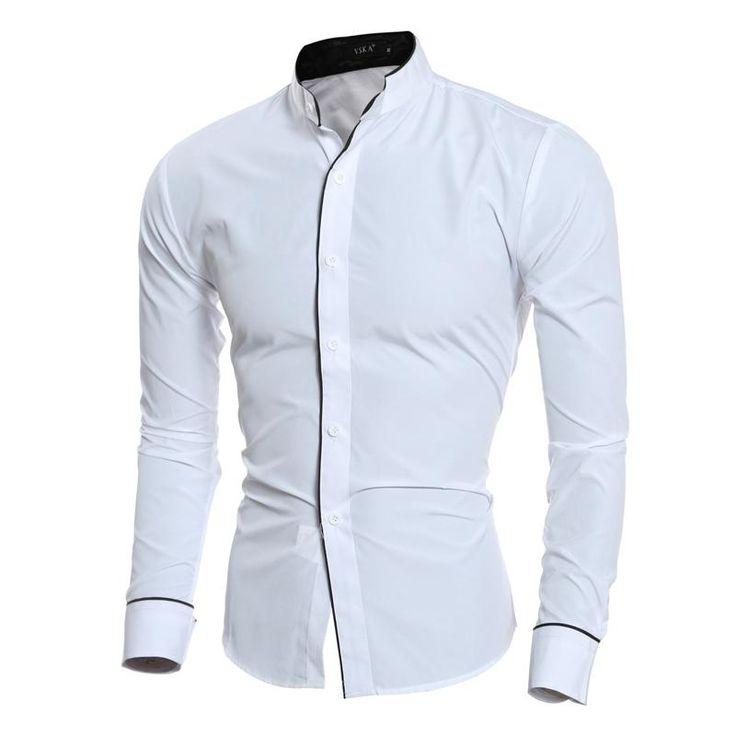 Unique Men Shirt Luxury Long Sleeve Shirts Casual Collarless Slim Fit Dress Shirts