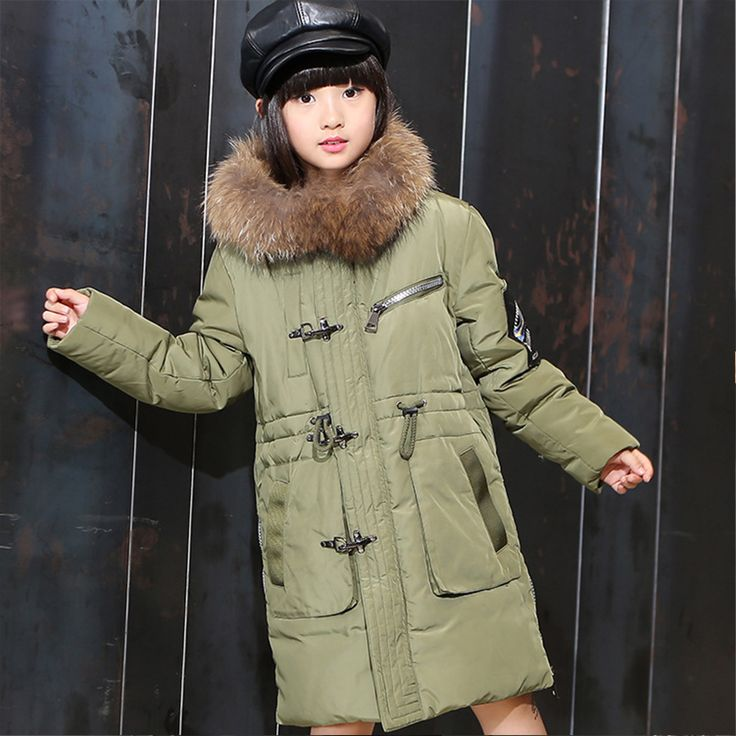 >> Click to Buy << fur hooded girl down coat little teenage girls boys outerwear winter warm outerwear and coats for girls green red black jackets #Affiliate