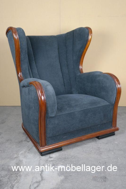 art deco sessel um 1930 mit stoff bezogen art deco. Black Bedroom Furniture Sets. Home Design Ideas
