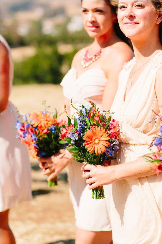 purple and orange bridesmaid bouquet