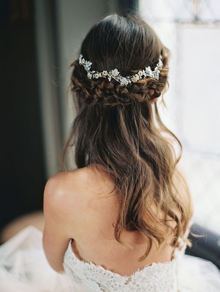 half up half down wedding hairstyle with pretty hairpieces