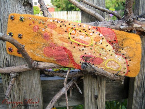 hand felted cuff bracelet in autumn colors