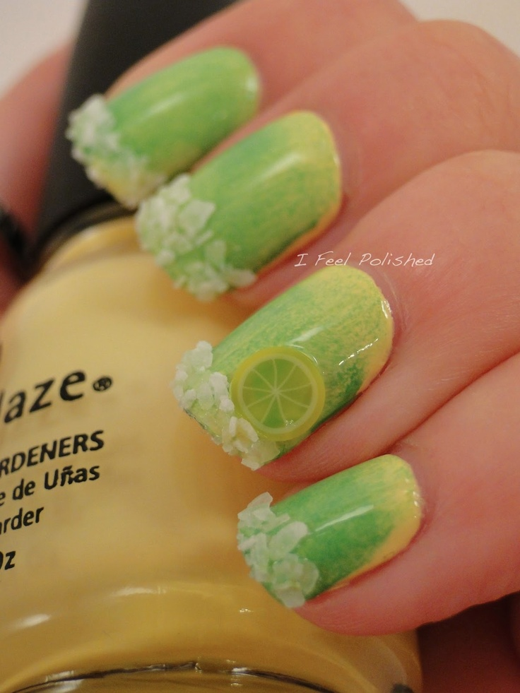 Margarita nails, polish w/China Glaze Lemon Fizz then used Essie Mojito Madness and gradient sponging method to mix the two colors. Then add lime slice fimo  to accent nail with just a little bit of clear polish on the back of it. Finally, swiped clear polish along the bottom area of nail and dip it into a water bottle cap full of kosher salt.