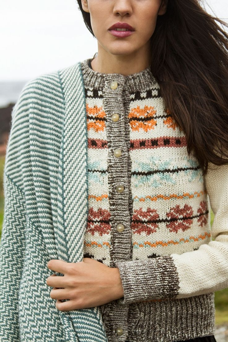 Hand knitted cardigan and hand woven ruana, from Manos del Uruguay new Fall Catalogue.