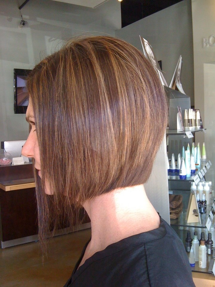 Asymmetrical bob and chocolate brown with caramel ...