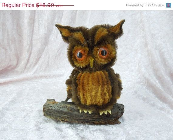 SALE Vintage Retro Owl on Bark Tree Branch Made from Pipe Cleaners
