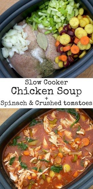 Easy and healthy slow cooker chicken soup recipe. Eliminating the noodles and adding a handful of spinach and crushed tomatoes makes this chicken soup recipe healthier than the rest! Making it in the slow cooker saves SO much time!