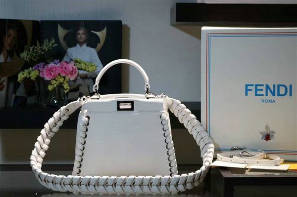 2016 A/W Fendi Fashion Show Mini Peekaboo Weave Handbag in White Nappa Leather