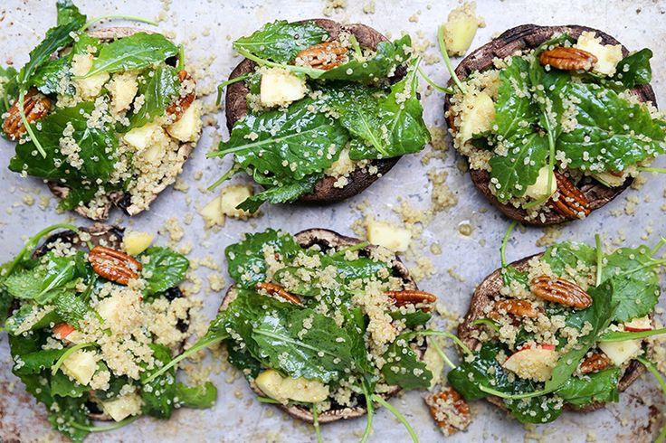 Kale and Quinoa Salad Stuffed Portobello Mushrooms with Apple Cider Dressing | www.floatingkitchen.net