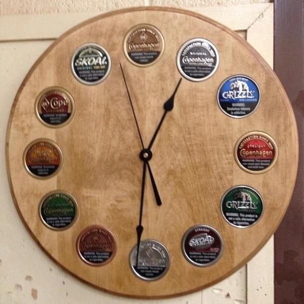 Tobacco can clock, would also be cool as beer bottle caps for Dustin
