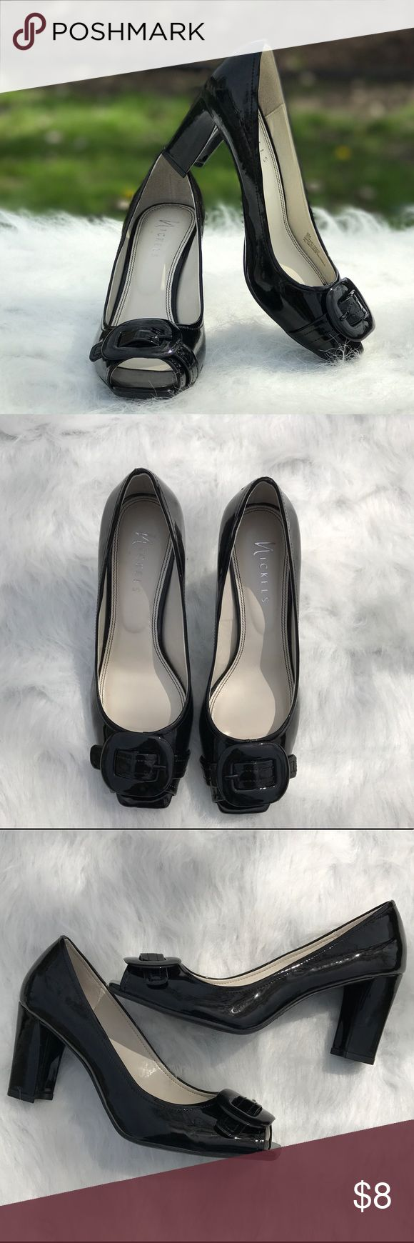 Black peep toe pumps Very sophisticated back pumps. Peep toes with bow detail. Chunky heel for comfort. Great for work or dinner date. nickels Shoes Heels