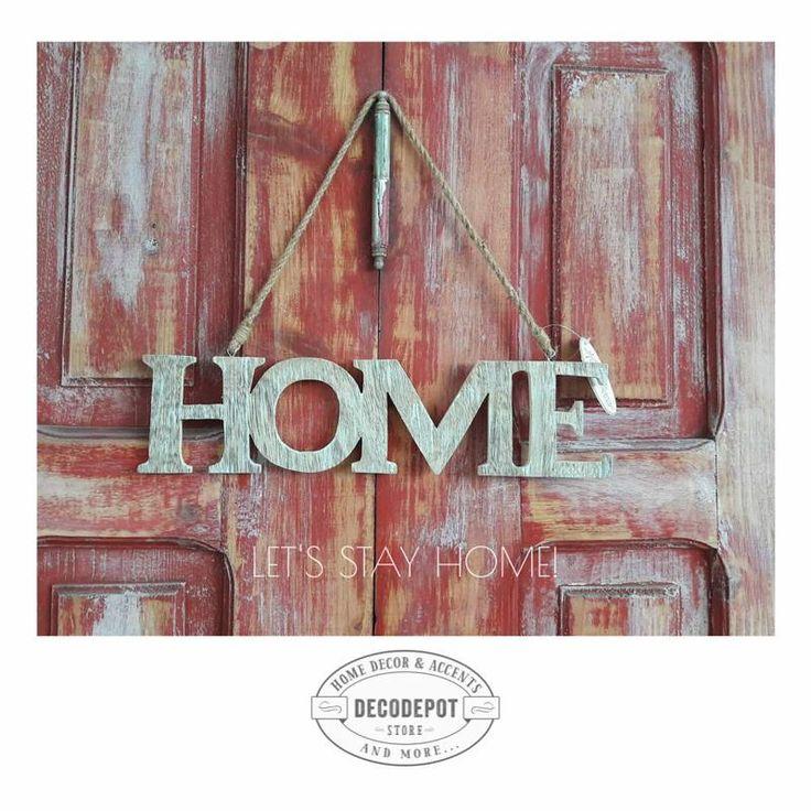 Home inscripţionat pe lemn şi vopsit. poate fi folosit pentru tine sau cadou pentru prieteni. Dacă ai o grădină, şi mai bine. Pentru că natura este ca o a doua casă. Woodden. Home. Paint. Garden. String. Blue. DecoDepot. Braşov.