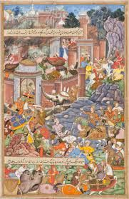 Image result for a miniature painting depicting Humayun's battle against Bahadur Shah