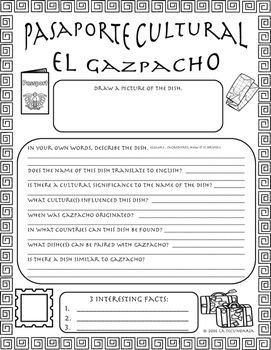 Pasaporte Cultural - El gazpacho by LA SECUNDARIA  | Teachers Pay Teachers