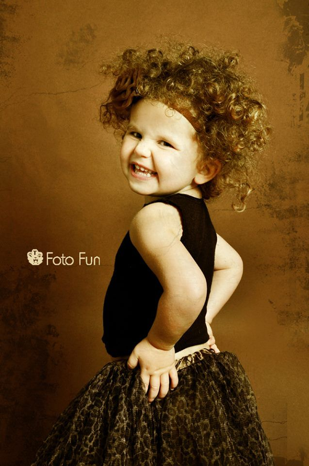 Funny Vintage little girl in sepia