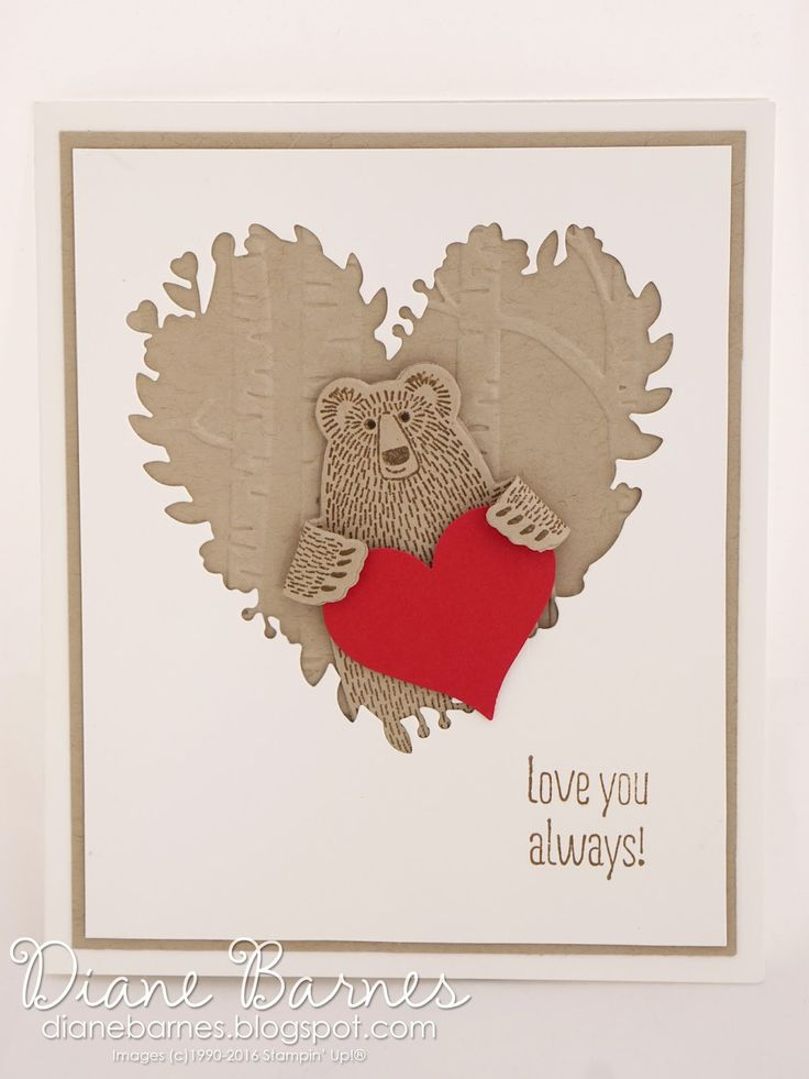 Masculine love-valentine card using Stampin Up  Bear Hugs bundle, Bloomin Heart die & Something to Say stamps. By Di Barnes for Just Add Ink 298 #colourmehappy