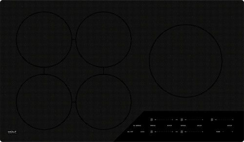 Wolf CI365CB 36 Inch Induction Cooktop with 5 Cooking Zones, 5 Bridge Zone Options, Boost Mode, Pan Sensing, Melt Setting, Independent Timer, Indicators and Control Panel Lock: Contemporary, Unframed Edge