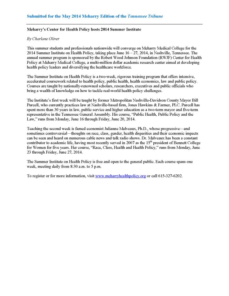 Writing Sample Article submitted to the May 2014 Meharry Edition of - sample invitation meeting email