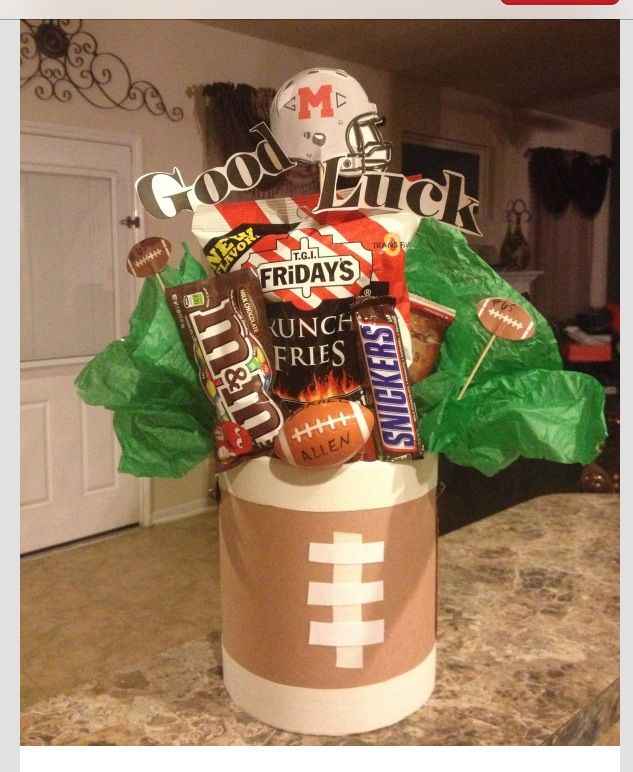 Varsity football player gift!!!! I made this for my daughters friend, I love being a cheer mom ;)