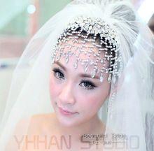 Cristalino de lujo de novia accesorios del vestido Crystal Rhinestone novia joyería nupcial corona de la tiara de la boda(China (Mainland))