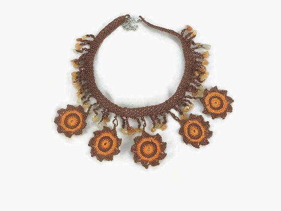 Flower Statement Necklace  / Orange and Brown Crochet  by Nakkashe