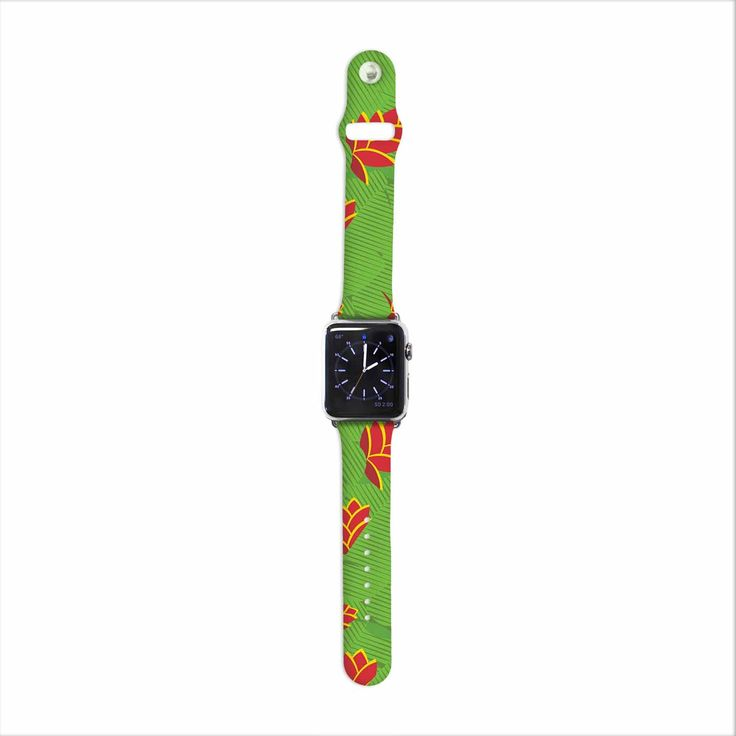 """Yenty Jap """"Heliconia"""" Green Red Apple Watch Strap from KESS InHouse"""