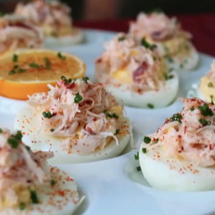 "Crab-Stuffed Deviled Eggs | ""Best deviled egg recipe EVER! Didn't change a thing."""