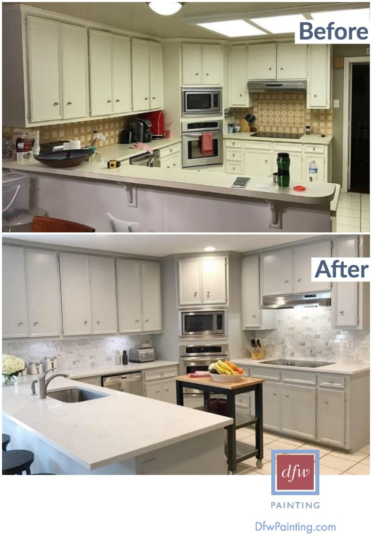 Kitchen Remodel Before And After Painting Dfw Painting Kitchen Remodel Kitchen Remodel Before And After Update Kitchen Cabinets