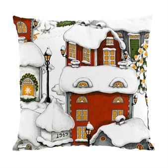 Breng uw huis in kerstsfeer met de charmante Lyckeby kussenhoes! De illustratie - ontworpen door Mialotta Arvidsson-Mars voor het Zweedse merk Arvidssons Textil - bestaat uit kleine herenhuizen bedekt met een deken van sneeuw. Mooi!