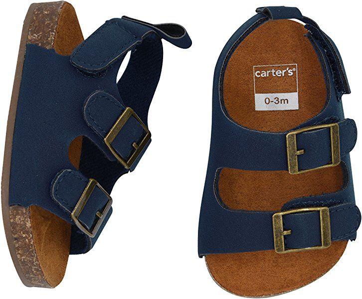 Flat Sandal, Navy, Cork Sole