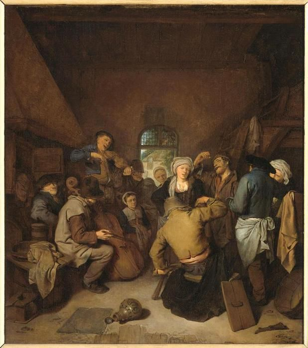 Бега Корнелис Питерс (Bega, Begga, 1620-1664) - Поющие и пляшущие крестьяне (1664, Rijksmuseum, Amsterdam)
