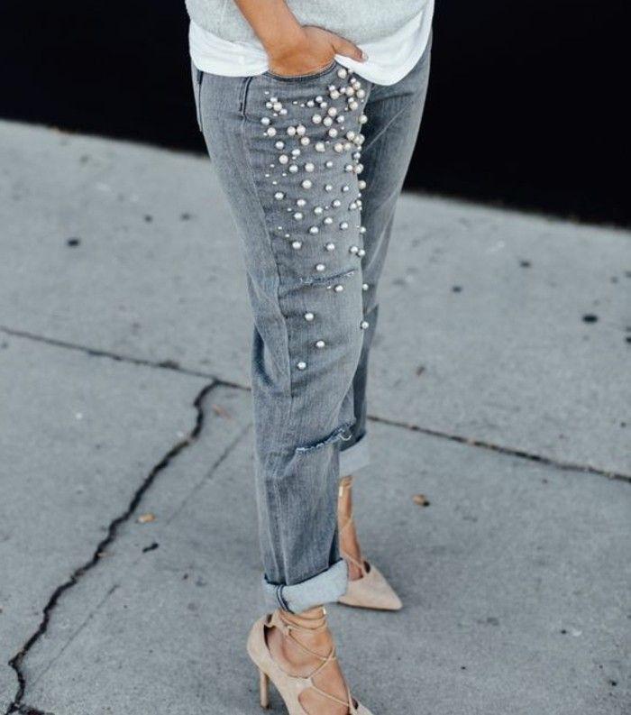 customiser vetement, paire de jeans déchirés, style, tenue pour chaque jour