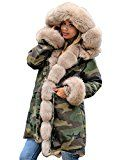 Roiii Ladies Fur Collar Hooded Parka Military Camouflage Winter Warm Jacket Coat (Small Army Green With Gold Fur)