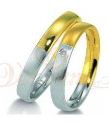 Βέρες γάμου από πλατίνα και χρυσό με διαμάντι Breuning 9015-9016