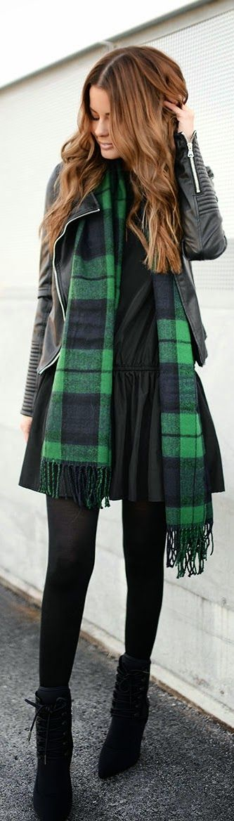 Black and Green Plaid Scarf with Leather Moto   Ch...