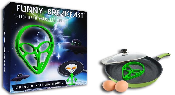 "Funnybreakfast.com proud to present one of their creations, the Area 51 Egg Shaper!  The preparation is very simple, two eggs should be poured into the mold's ""eyes"". The egg-white flows apart, filling the mold, while the two yolks form the eyes.."