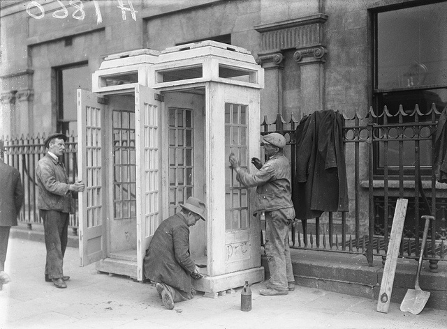 Some of the first telephone boxes to grace Dublin's streets.  Installation was in preparation for the thousands of people who  descended on the capital from all over Ireland