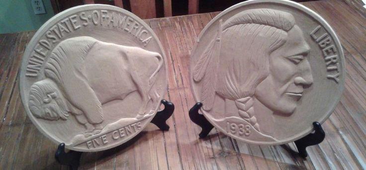Rare Vintage 1938 Buffalo Nickel Coin Front Back Wall